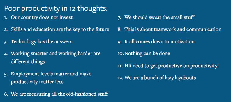 Poor Productivity in 12 Thoughts