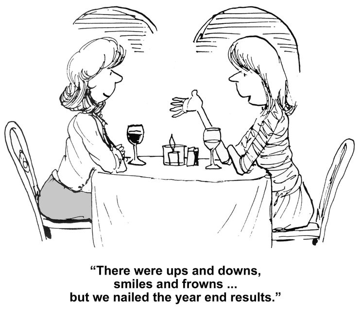 A cartoon of two women drinking wine and talking about the end of the financial tax year and their successes