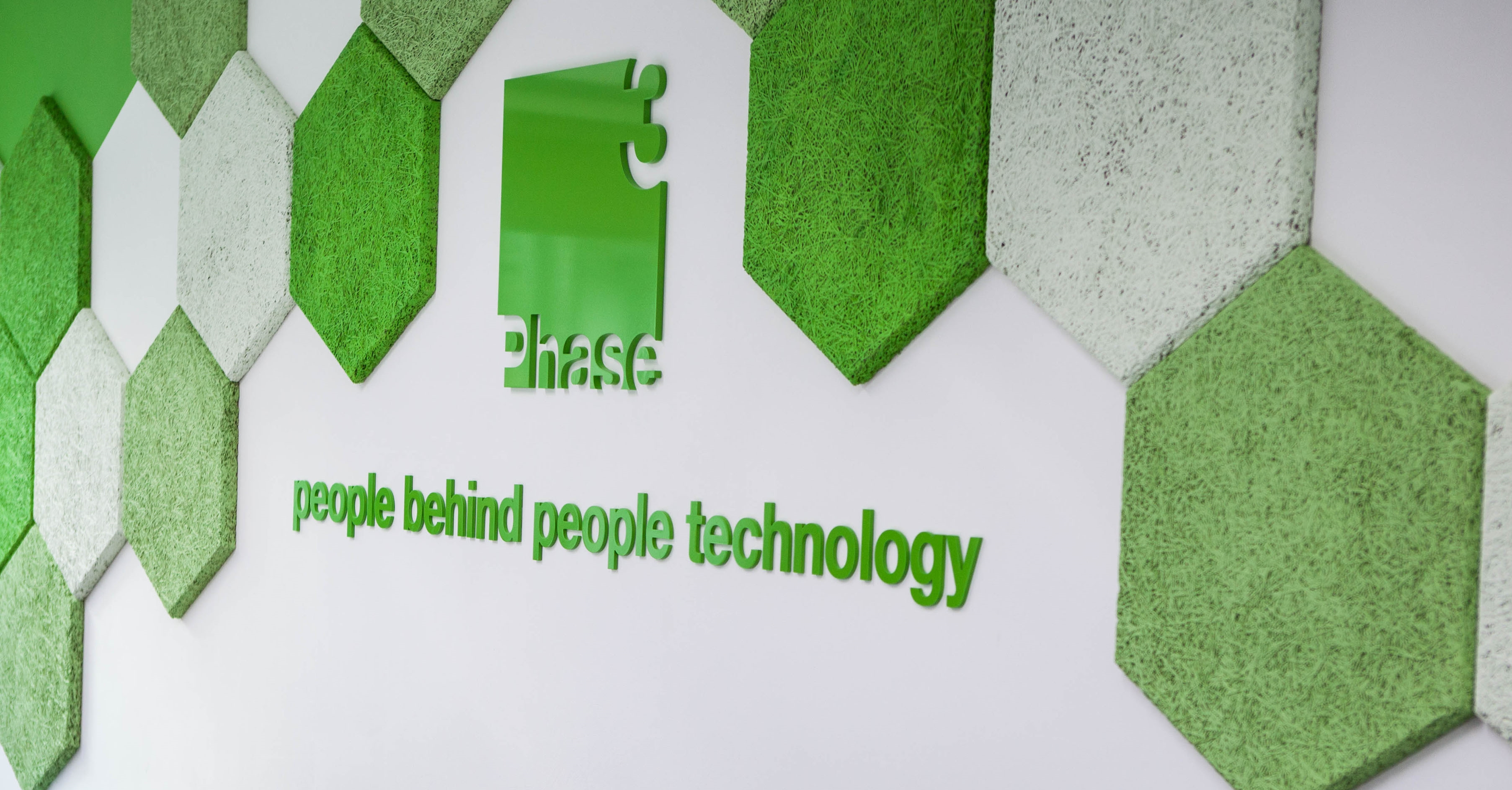The Phase 3 Consulting wall with the logo & grass polygons. Phase 3 Consulting helping to manage your project governance.