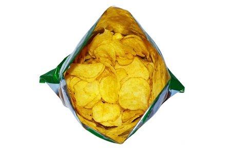 An open bag of Salt and Vinegar crisps