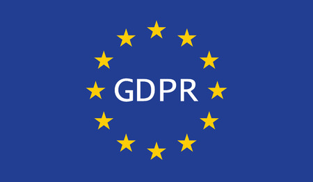 A european union flag with GDPR written in the middle