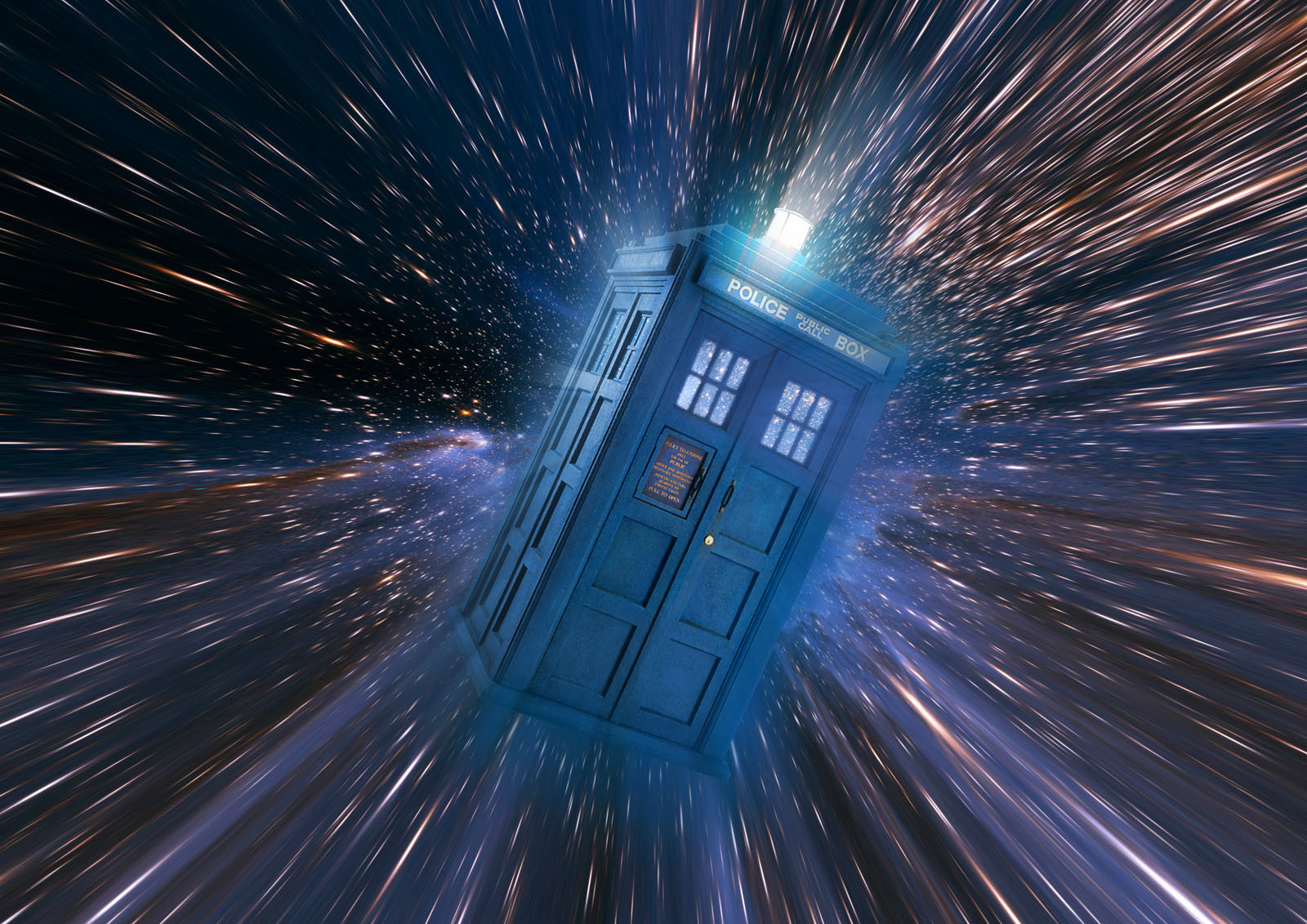 the TARDIS flying through space and time