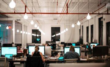 Staff working at desks in an office