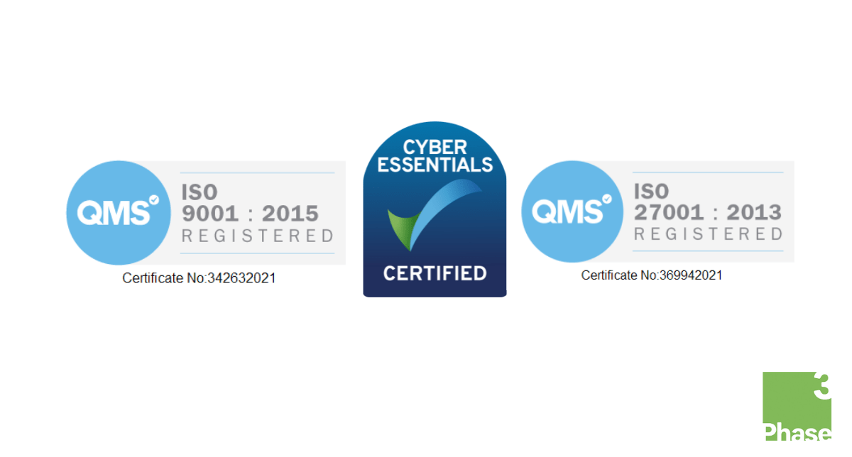 We're ISO and Cyber Essentials Certified!
